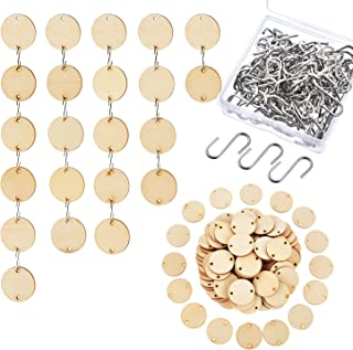 Hicarer 100 Pieces Christmas Wooden Tags with 2 Holes Round Wood Discs and 100 Pieces S Hooks Connectors for Birthday Boards, Chore Boards and Crafts