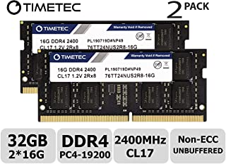 Timetec Hynix IC 32GB KIT (2x16GB) DDR4 2400MHz PC4-19200 Non ECC Unbuffered 1.2V CL17 2Rx8 Dual Rank 260 Pin SODIMM Lapto...