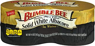 BUMBLE BEE Prime Fillet Solid White Albacore Tuna Fish in Water, 5 Ounce Can (Pack of 4), Wild Caught Tuna, Canned Tuna, H...