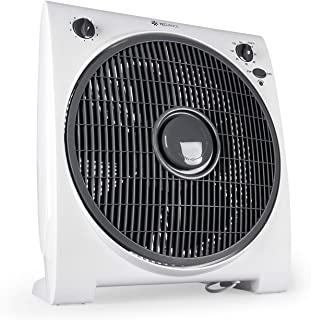 Tecvance TV-6633 Ventilador de Mesa o Suelo-Box Fan-Extra Silencioso y Potente-4 Velocidades-Temporizador-32cm Diámetro, Blanco, 1 unidad