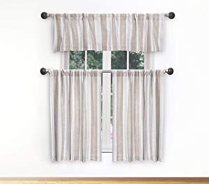 Home Maison - Rhett Striped Faux Linen Textured Kitchen Tier & Valance Set   Small Window Curtain for Cafe, Bath, Laundry, Bedroom - (Beige & White)