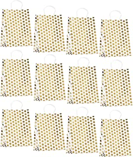 Paper Gift Bags with Handles, 12-Pack Party Bags for Birthdays, Rose Gold Foil Polka Dots, 8.6 x 11 x 4.3 Inches