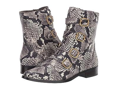 J.Crew Leather Multi Buckle Troy Boot Embossed Snake (Ivory/Black) Women