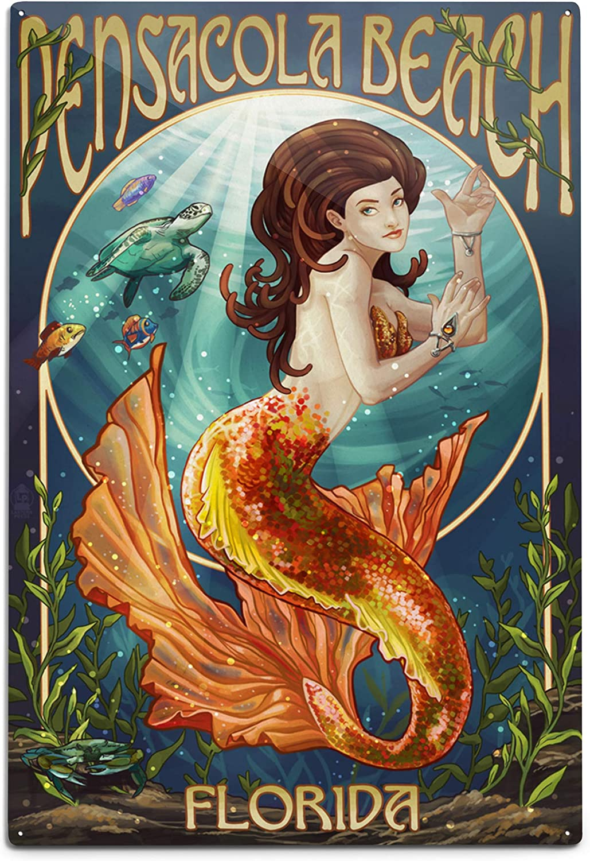Lantern Press Pensacola Beach Florida Max 54% OFF Aluminum Special price Mermaid 12x18
