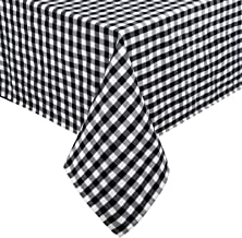 Black and White Buffalo Plaid Tablecloth, Checked Gingham Table Cloth, Cotton Linen Grid Table Cover for Kitchen Dining Ro...