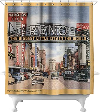 Lantern Press Reno, Nevada - South View of Virginia Street, Famous Reno Sign 15954 (74x74 Polyester Shower Curtain)