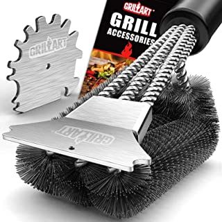 GRILLART Grill Brush and Scraper, Best BBQ Grill Cleaner 3D Brush Double Scrapers No-Shed-Metal Bristle Barbecue Cleaning ...