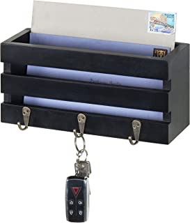 MyGift Wall-Mounted Crate-Style Black Wood Mail Sorter with 3 Key Ring Hooks
