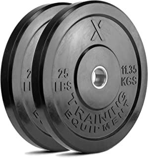 X Training Equipment Premium Black Bumper Plate Solid Rubber with Steel Insert –..