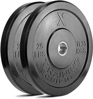 X Training Equipment Premium Black Bumper Plate Solid Rubber with Steel Insert –..