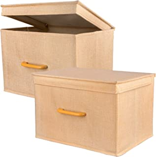 ACMETOP Collapsible Storage Bins with Lids - Large Stackable Storage Cubes Boxes Containers Organizer with Wooden Handle for Clothes, Bedding, Toys, Books, Crafts, Accessories, 2 Pack (Beige)