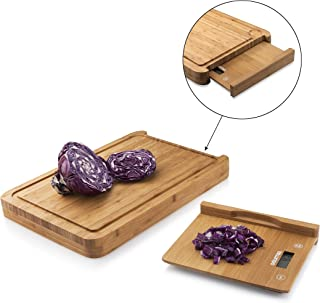 "Gourmia GKS9140 Bamboo Cutting Board Digital Scale Bamboo Food Prep Board With Removable Bamboo Kitchen Scale Measures 15"" x 10"" x 1.5"" Great for Baking, Cheese, Charcuterie & More"