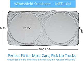 Windshield Sun Shade SUV Car Size Chart with Your Vehicle Universal Quality-210T Keep Vehicle Accessories Cool UV Sun and Heat Reflector Sunshades (Medium)