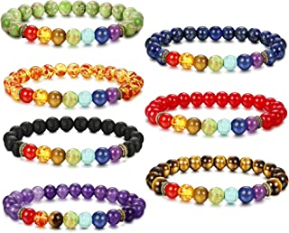 YADOCA 7 Pcs Natural Stone Chakras Bracelet for Men Women Crystal Healing Yoga Bead Bracelet Adjustable