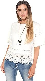 KRISP Women Ladies Embroidered Short Sleeve Boxy Summer T Shirt Top Blouse Plus Size