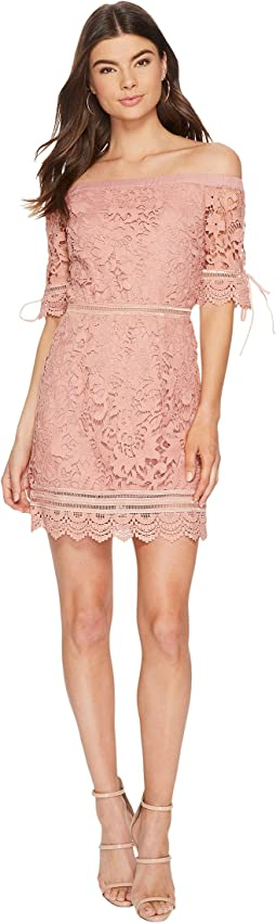 J.O.A. - Off the Shoulder Lace Trim Dress
