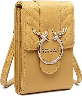 Kleine Handy Umhängetasche, PU Leder Handytasche mit Geldbörse zum Umhängen, Cross-Body Schultertasche Brieftasche mit Kar...