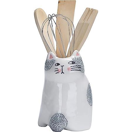 Bico Cartoon Cat Utensil Holder, Handpainted Stoneware, Dishwasher Safe
