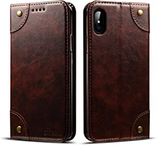 Wallet Phone Case for Apple iPhone X,TACOO Genuine Leather Card Slot Full Protection Magnetic Flip Durable Kickstand Fashion Cover for Apple 10 2017(Brown)