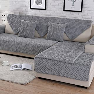 HM&DX Plush Sofa slipcover,Thick Quilted Anti-Slip Stain Resistant Multi-Size Sofa Cover Protector for Pets Dog Sectional Couch Cover-Grey 70x150cm(28x59inch)