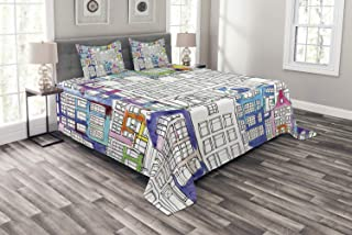 Ambesonne Amsterdam Bedspread, Hand-Drawn Style Houses of Amsterdam with Vibrant Watercolor Splashes Details, Decorative Quilted 3 Piece Coverlet Set with 2 Pillow Shams, Queen Size, Indigo White