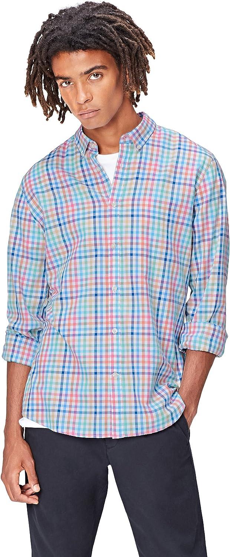 Marca Amazon - find. Camisa de Cuadros para Hombre
