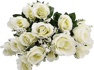 Herran 21 Piezas De Flores Artificiales Rosas De Seda, Un Solo Tallo Largo Realista Rosa Falso, Ramo De Novia De En Seda para Decoraciones De Oficina En El Hogar para Fiestas En El Jardín