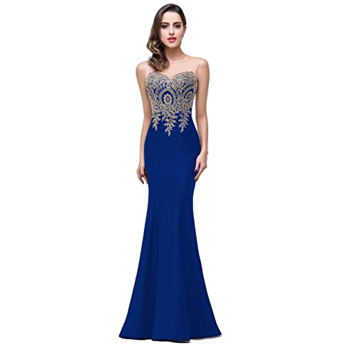 8f0ef7ce7fbe Babyonline Mermaid Evening Dress for Women Formal Lace Appliques Long Prom  Dress