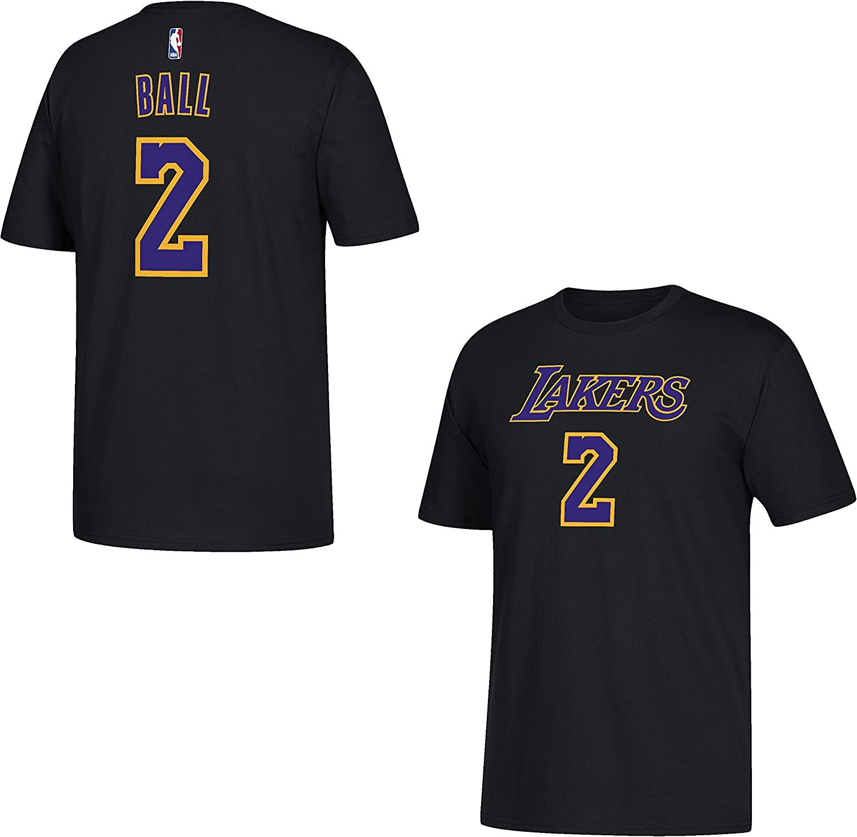 Amazon.com : adidas Lonzo Ball Los Angeles Lakers Black Name and ...