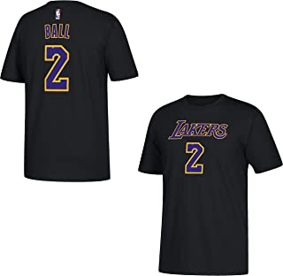 adidas Lonzo Ball Los Angeles Lakers Black Name and Number T-Shirt