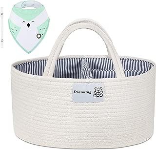 DINNKING Baby Diaper Caddy Organizer - Rope Nursery Storage for Boys and Girls - Car Organizer for Newborn and Infant Essentials - Baby Shower Gift Basket for Newborn Registry - Free Bonus one bib