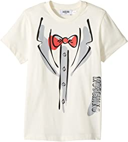 Moschino Kids - Short Sleeve Tuxedo Graphic Logo T-Shirt (Little Kids/Big Kids)