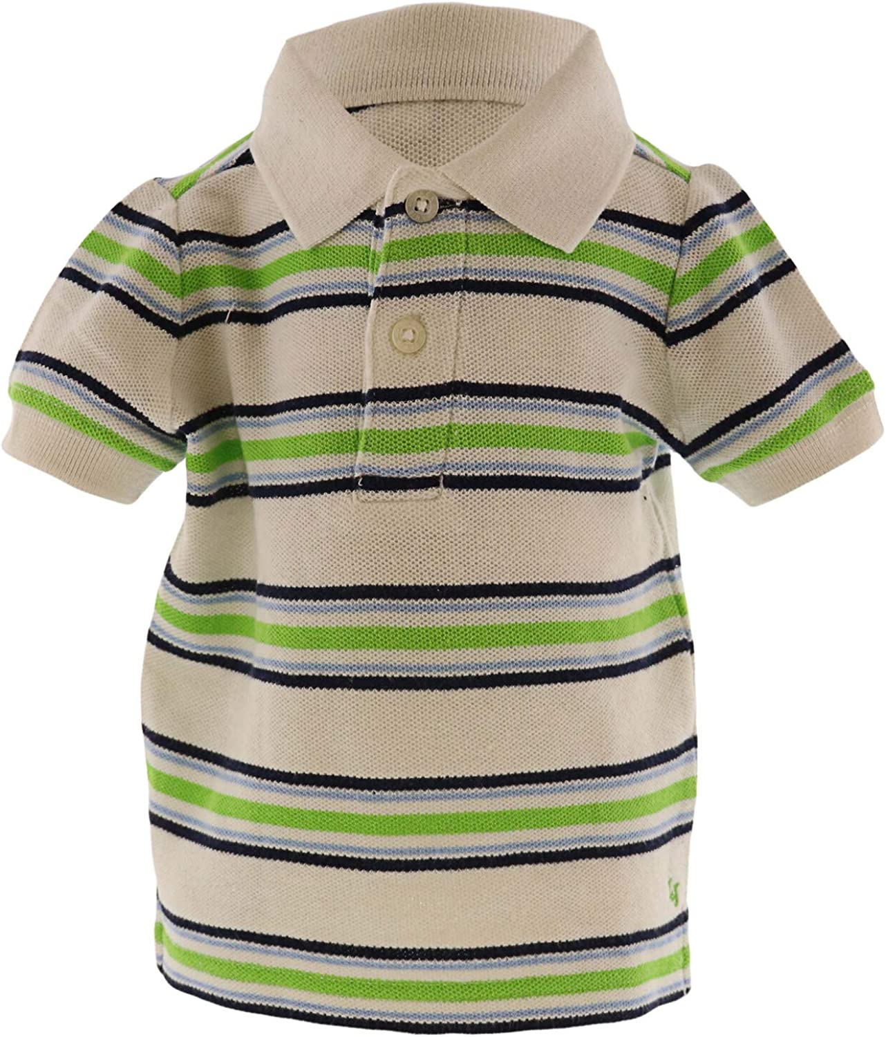 Janie and Jack Boy's Striped Polo - 3-6 Months - White/Lime/Navy