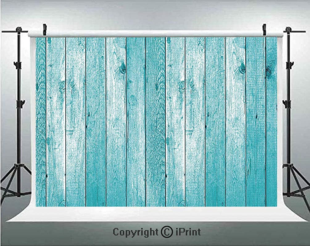 Light Blue Photography Backdrops Aged Wooden Planks Texture Vertically Striped Surface Floor Rustic Home Decor Decorative,Birthday Party Background Customized Microfiber Photo Studio Props,10x6.5ft,Li