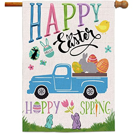 Amazon Com Briarwood Lane Easter Bunny Applique House Flag Holiday Sculpted 28 X 40 Garden Outdoor
