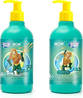 WOW Skin Science Kids 3 in 1 Wash + Kids Body Lotion - SPF 15 - Ocean King Aquaman Edition - 600mL combo