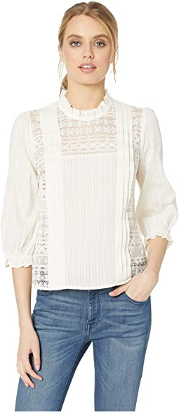 Pintuck 3/4 Sleeve Lace Knit Top