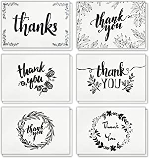 120 Elegant White Kraft Paper Thank You Cards with Brown Kraft Envelopes and Stickers - 6 Designs Bulk Blank Notes for Wedding, Business, Formal, Baby Shower and All Occasions 4x6 Inch