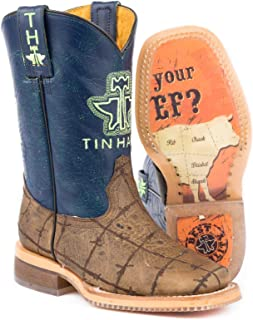 Tin Haul Boys' Barbed Wire All Beef Sole Cowboy Boot Square Toe Brown 1 D
