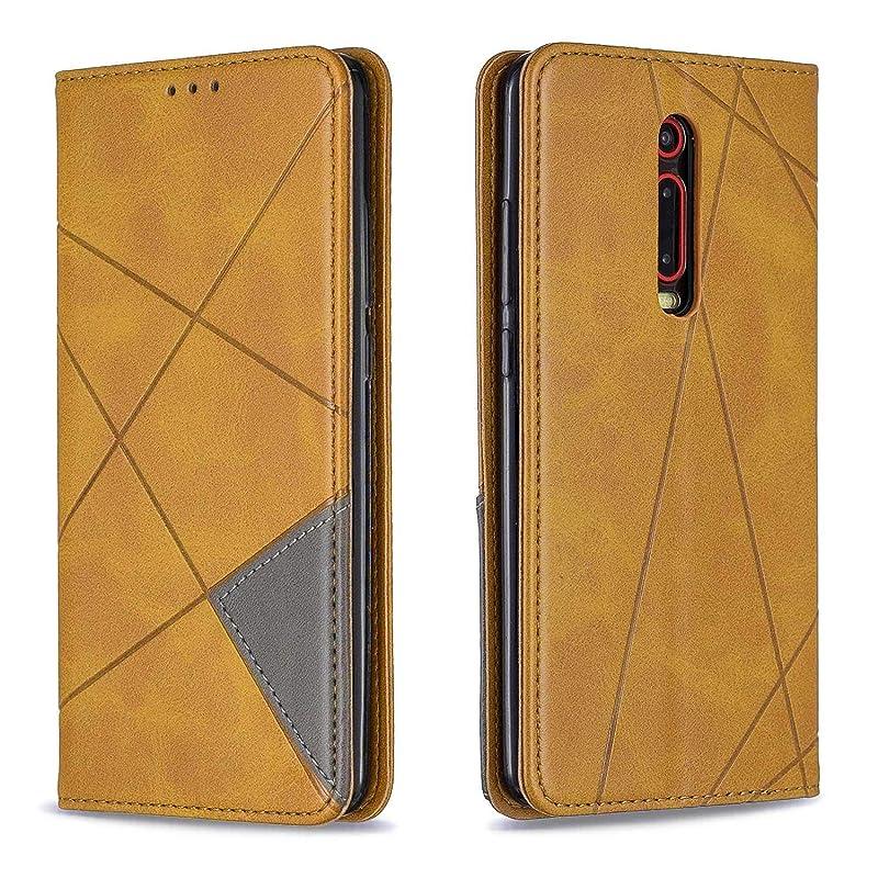 先駆者継続中ピニオンCUSKING Xiaomi Redmi K20 ケース, 高級 Xiaomi Redmi K20 手帳型 スマホケース, PUレザー フリップ ノート型 カード収納 付き保護ケース, イエロー