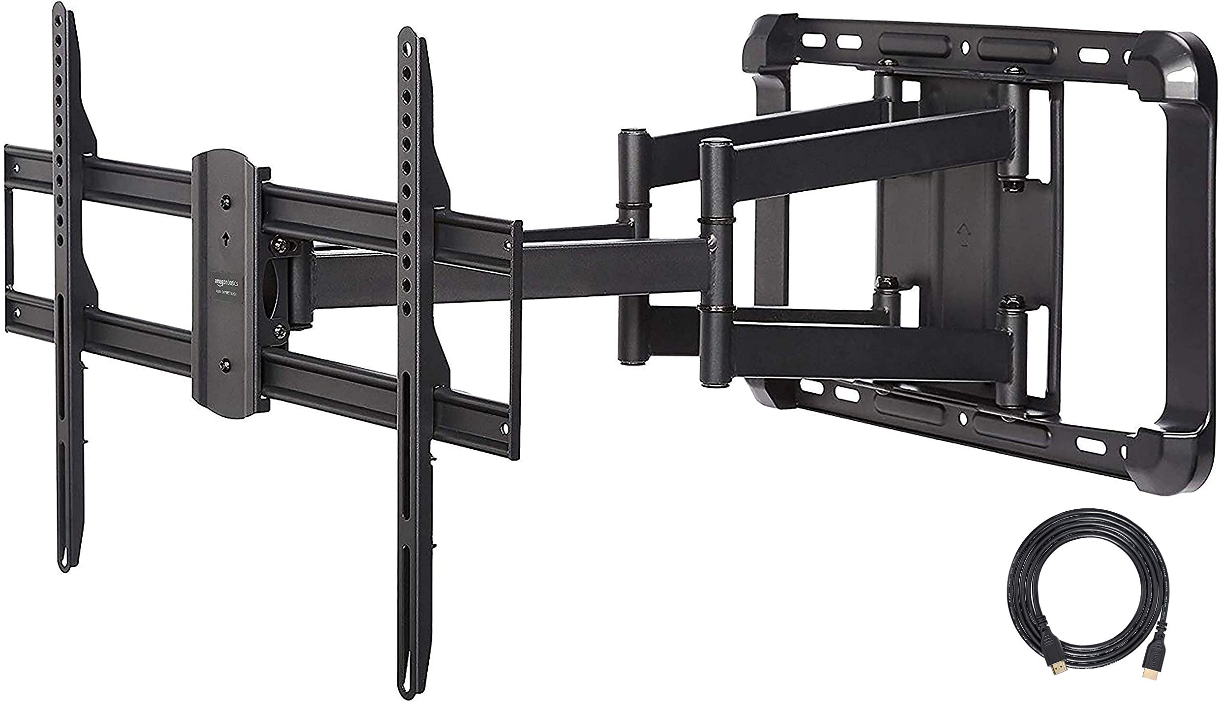 Amazon Basics Heavy-Duty Extension Dual Arm, Full Motion Articulating TV Mount for 37-80 inch TVs up to 132 lbs, fits LED LCD OLED Flat Curved Screens