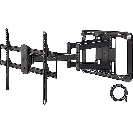 AmazonBasics, Soporte de TV de movimiento completo de brazo doble de extensión más larga, 37 pulgadas a 80 pulgadas, Negro
