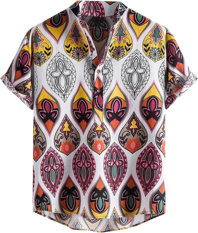 Beshion African Shirts for Men Plus Size Button up Hawaiian Shirt Summer Holiday Short Sleeve Casual Cotton Linen Shirts