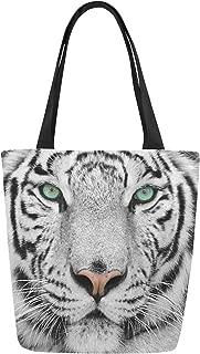InterestPrint Animal White Tiger Canvas Tote Bag Shoulder Handbag for Women Girls