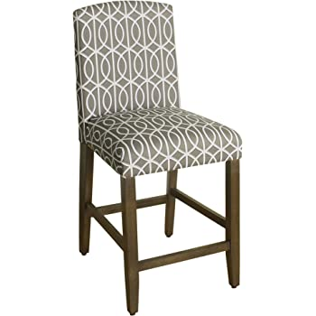 HomePop Parsons Classic Upholstered High Back Curved Top Barstool, 24-inch, Grey Trellis