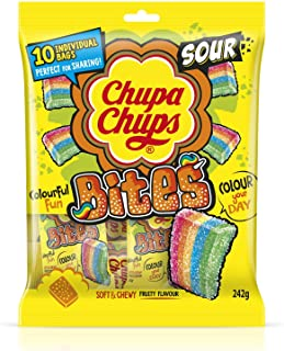 Chupa Chups Sour Bites Share Pack, 10 Bags, 242 g, Sour Bites