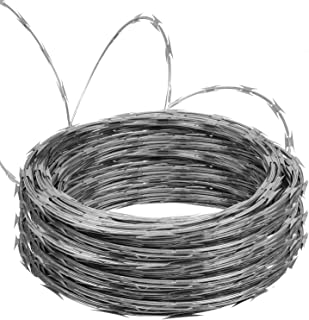Doniks Razor Wire Galvanized Garden Fence Clipped Barbed Wire Razor Ribbon Barbed Wire 18 inches 5 Coil 50 Feet Per Roll 250 Feet