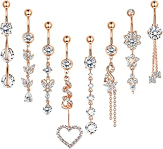FUNRUN JEWELRY 8PCS 14G Stainless Steel Dangle Belly Button Ring Navel Piercing Clear CZ Inlay Body Piercing Jewelry Barbell