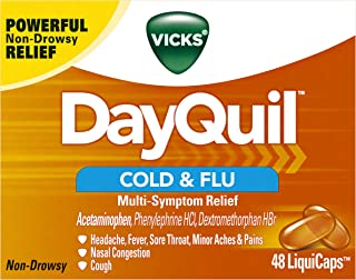 Vicks DayQuil Cold & Flu Multi-Symptom Relief, 48 LiquiCaps - #1 Pharmacist Recommended –Non-Drowsy, Daytime Sore Throat, Fever, and Congestion Relief