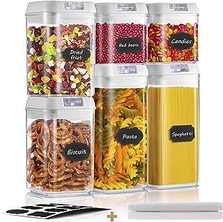 4 Pezzi Set di Contenitori Alimenti Cereali e Farina. No branded Elinala Plastica Contenitore per Alimenti Scatole da Cucina con Coperchio con Etichetta per Alimenti Secchi